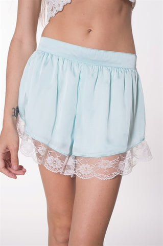 Womens Bottoms Satin Lace Trim Lined Shorts IPM9059A