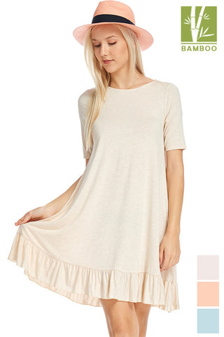 Tanboocel Bamboo Dress Solid Short Sleeve Scoop Neck Ruffle 43644