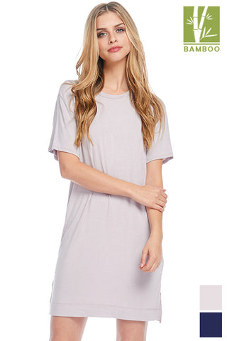 Tanboocel Bamboo Solid Short Sleeve Dress with Zipper Detail 43656