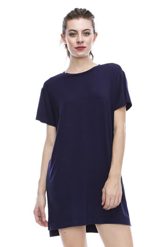 Tanboocel Bamboo Solid Short Sleeve Dress 43656