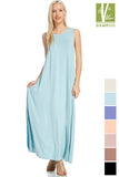 Tanboocel Bamboo Solid sleeveless Maxi Bamboo Dress With Pocket  43691