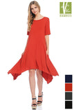 Solid Round Neck Short Sleeve Pocket detailed Knee length Dress 43891