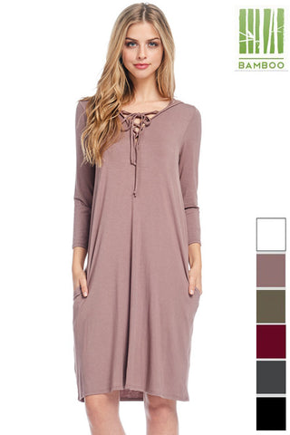 Tanboocel BAMBOO Dress Solid 3/4 Sleeve front strappy Hoodie 43962