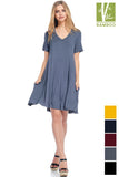 SOLID V-NECK Tanbocel Bamboo FLOWY DRESS WITH POCKET 43984