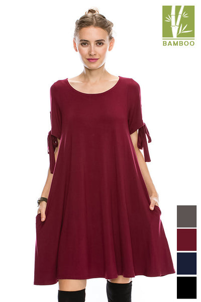 "Solid Round neck ""Tanboocel"" Bamboo Dress bow detailed Short sleeve flowy swing 43985"