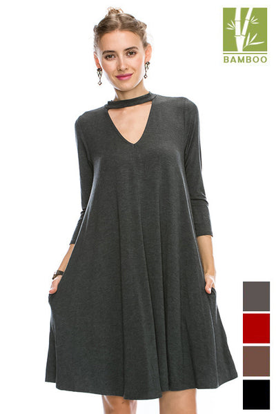 "Solid Cut out front high neck ""Tanboocel"" Bamboo dress With Pocket 43998"