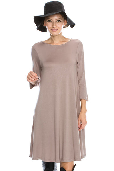 Solid Viscose Crepe 3/4 Sleeve Round Neck Dress W/ Pocket 44004