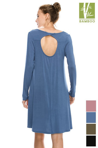 Long Sleeve Tanboocel Bamboo Dress v-Neck Front Cut out Back w/ Pocket 44010