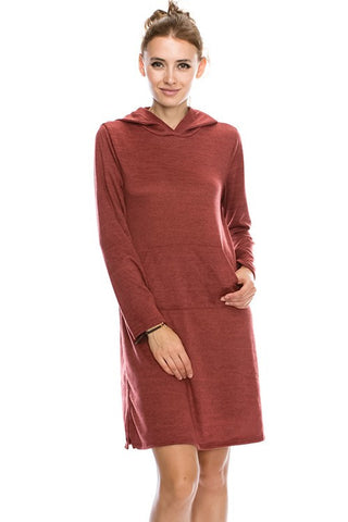 2 tone Brushed Hachi Long Sleeve Hoodie Dress with pocket detail 44021
