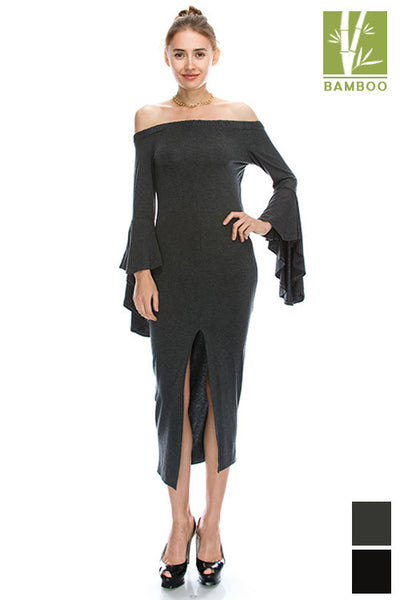 Tanboocel Bamboo Off Shoulder Ruffle Sleeve & Front Slit Dress 44052
