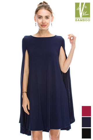 Tanboocel Bamboo Solid Cape Style Dress 44060