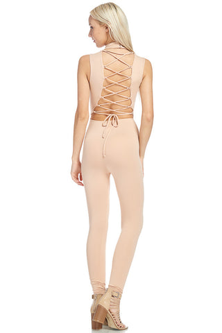 Solid Lace Up Detailed Back Sleeveless Nude Jumpsuit 44121