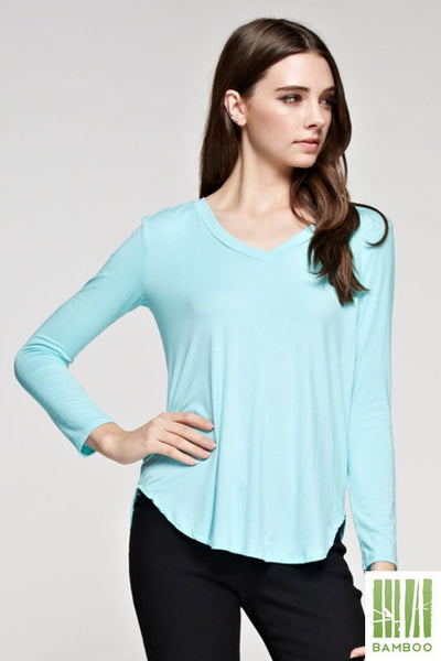 Tanboocel Bamboo Top Solid Long Sleeve Shirts V-Neck Bamboo TOP 24053