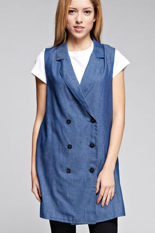 Stylish Denim Vest Coat Jacket 65107