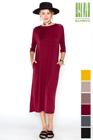 1/2 Sleeve Tanboocel Bamboo Dress Midi Round Neck pocket Dress