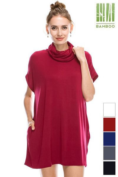 **BAMBOO NATURAL FIBER - TANBOOCEL** Cowl Mock Neck Line sleeveless Pocket detailed solid Tunic 24210