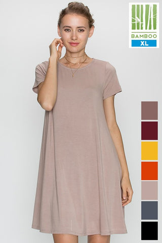 Tanboocel Short Sleeve Clothing Round Neck Dress 24217
