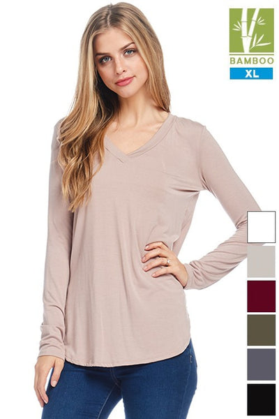 Tanboocel Bamboo Tunic Solid Long Sleeve V-Neck Top 24229