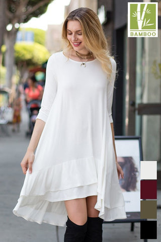 SOLID 3/4 Sleeve ruffle Detailed Tanboocel Banboo dress with pocket 43986