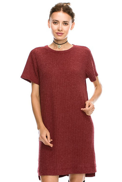 Solid Rib Fabric Short Sleeve Side Slit Detail T-Shirt Dress 44001