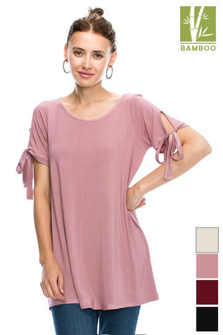 SOLID ROUND Tanboocel Bamboo NECK BASIC TUNIC WITH SELF TIE SLEEVE 24234