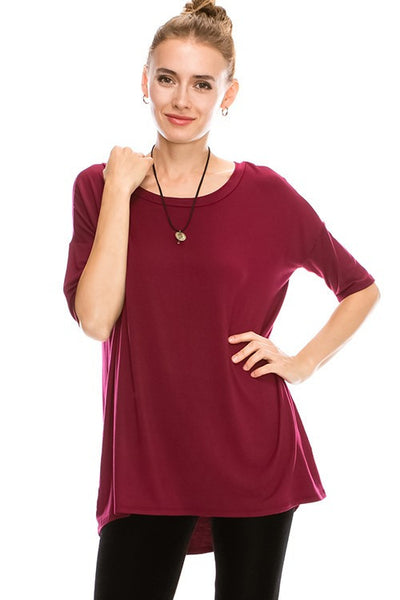 heavy RAYON SPANDEX SOLID BOAT NECK 1/2 SLEEVE TOP TUNIC 24260