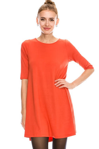 Casual Solid Womens Dress RAYON SPANDEX SOLID 1/2 SLEEVE 24221-RS
