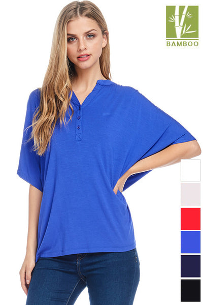 Womens Tanboocel Bamboo Short Sleeve Button Down Top 62079
