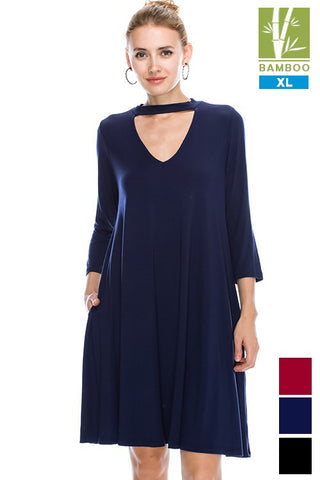 Solid high neck Tanboocel Bamboo dress With Pocket 43998XL