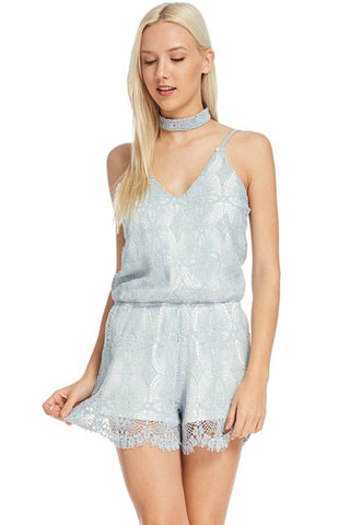 Solid Crochet sleeveless Lined Romper With choker  70726