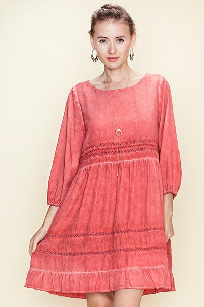 Solid 3/4 Sleeve Dress Boat Neck Line Lace Trimmed 70102