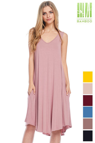 Tanboocel Bamboo Casual Dress Round Neck Sleeveless Pocket DRESS 70146