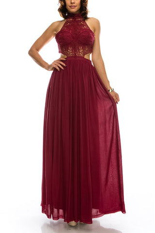 Cocktail Dress Burgundy & White Lace Maxi Dress