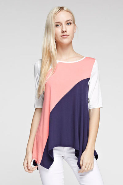 Tanboocel Bamboo Tops Color Block Tunic 24062