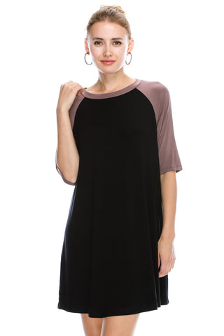 Tanboocel Bamboo Color Block Dress Raglan Sleeve Round Neck 43610xl
