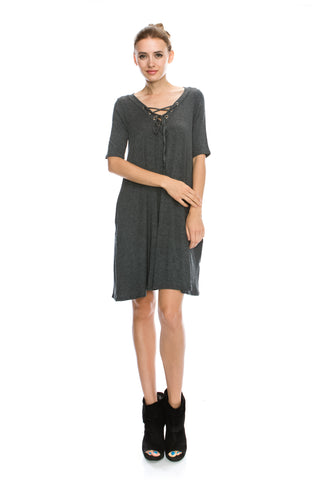 Solid Front Lace-Up Dress 1/2 Elbow Short Sleeve  Charcoal Dress 44014