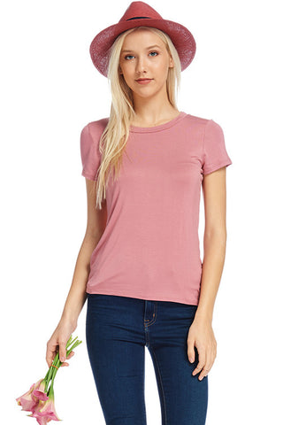 Solid Short Sleeve Round Neck Tee 24330