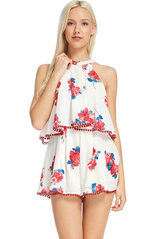 Floral Print Woven Sleeveless Tie Lined Romper With Pom-Pom Cotton Crochet 70731