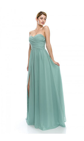 Royal Chiffon Strapless Sweetheart Maxi Dress