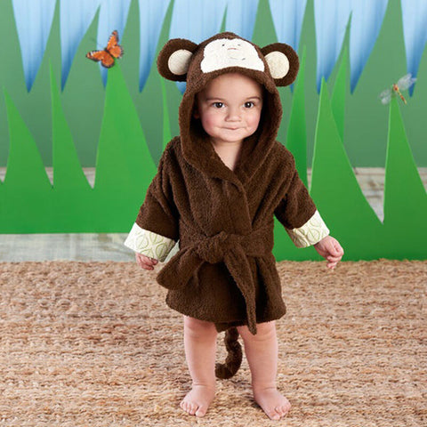 Playful Monkey Hooded Bathrobe