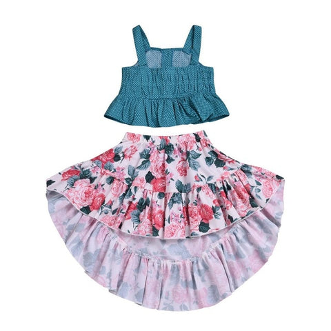 Baby Girl Ruffle Skirt and Crop Top Set
