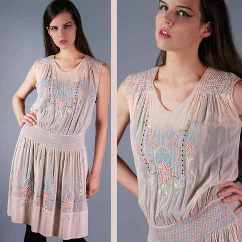 20s Pink Pastel Embroidered Flapper Dress Embroidered Sheer Dress - Embers / Cinders Vintage