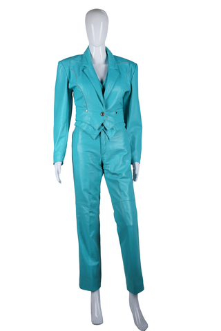 Michael Hoban Turquoise Western Leather Suit