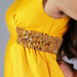 Vintage 50s Structured Marigold Beaded Sequin Gown - Embers / Cinders Vintage