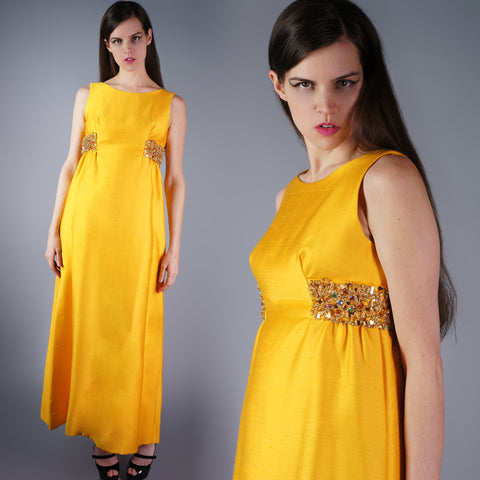 Vintage 50s Structured Marigold Beaded Sequin Gown -  - 1