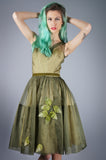 Organza Cupcake Dress with Leaf Applique
