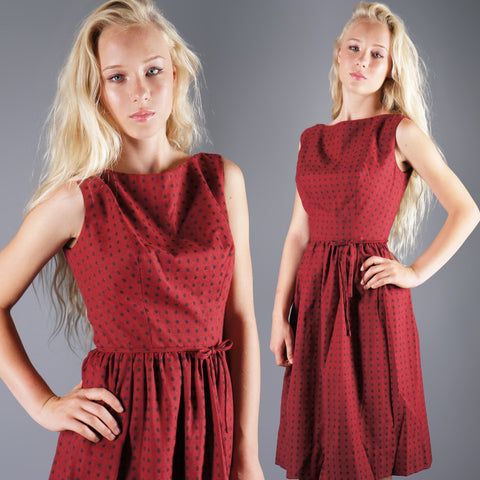 Vintage 50s Polka Dot Maroon Day Dress with Bow Waist -  - 1