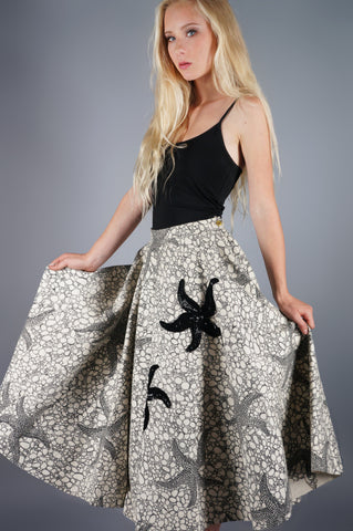 Applique Sequin Starfish Circle Wool Skirt - Embers / Cinders Vintage