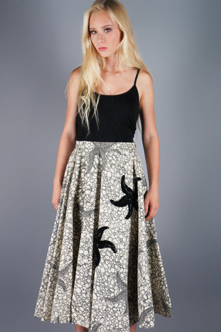 Vintage 50s Applique Sequin Starfish Print Full Wool Skirt -  - 3
