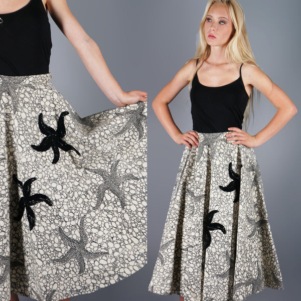 Vintage 50s Applique Sequin Starfish Print Full Wool Skirt -  - 1